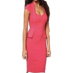 Asos Hot Pink BodyCon Midi Peplum Pencil Dress